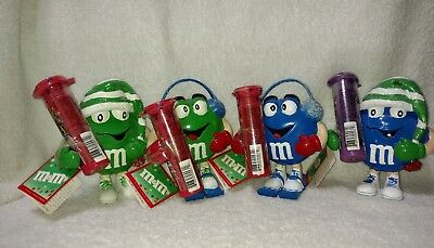 M&M's Ceramic Christmas Holiday Figurines Lot Of 4.
