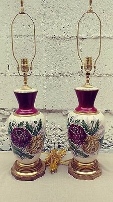 Antique Vintage Mid Cent Pair  Porcelain Ceramic Hand Painted Mums Floral Lamps