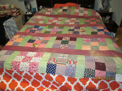 """9 Patch Quilt Top 76"""" x 86"""" - Made in the 1940's"""