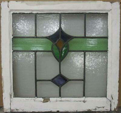 "OLD ENGLISH LEADED STAINED GLASS WINDOW Pretty Band Design 21.75"" x 20.25"""