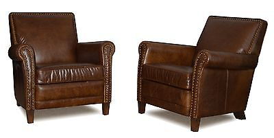 Genuine Leather Club Chair, Accent Chair, Cigar Chair with Nail Heads