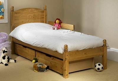 Solid Antique Pine My First Bed Includes 2 Drawers And Guard Rail Mattress Extra