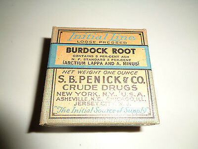 Quack Medicine, Initial Line Burdock Root  S.B. Penick & Co. Crude Drugs. Full