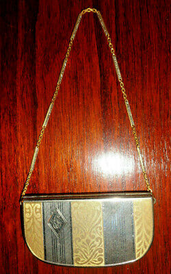 Vtg ELGIN Gold Filled Make-Up Compact Wrist Purse With Some Product Lipstick