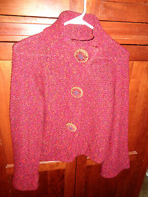 Mosaic Boucle Cardigan Black Button Front Size 18 to 20 Michele Hope