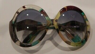a8240199c896 Vintage Atelier Fabric Pattern Large Ladies Plastic Sunglasses NOS  306