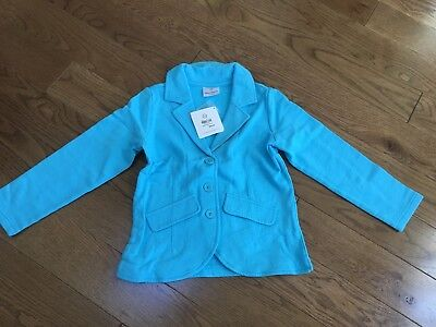 NEW NWT Hanna Andersson Girls Turquoise Blue Cotton Button Blazer Jacket 120