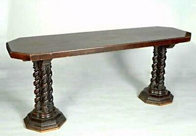 Fine Antique Inlaid Mahogany Twist Column Library Conference Table Dining Coffee
