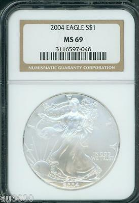 2004 American Silver Eagle S$1 ASE NGC MS69 MS-69 Premium Quality PQ+ !!!