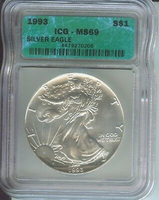 1993 American Silver Eagle ASE S$1 ICG MS69 MS-69 BEAUTIFUL