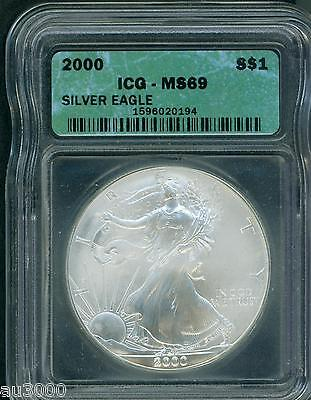 2000 American Silver Eagle ASE S$1 ICG MS69 MS-69 BEAUTIFUL