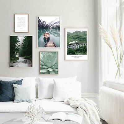 Scandinavian Decor Wall Art Canvas Poster Nordic Landscape Mountain Forest Print