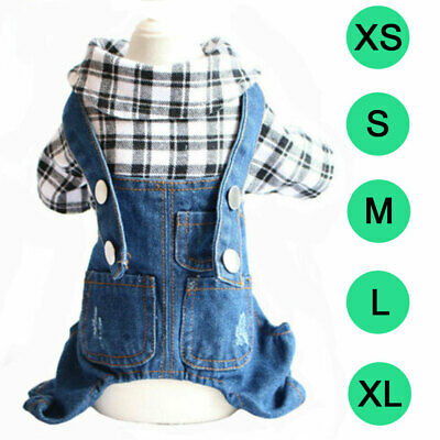 Pet Jeans Jacket Puppy Cat Denim Hoodie Clothes Stylish Small Dog Jumpsuit Teddy