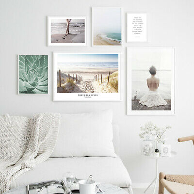 Beach Girl Scandinavian Decor Wall Art Canvas Poster Nordic Landscape Print