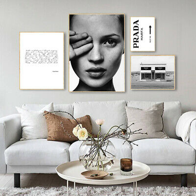 Kate Moss Black Whtie Wall Art Canvas Poster Nordic Fahion Print Painting