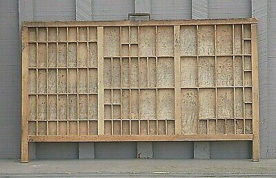 Old Antique Wooden Printer's Drawer Typeset Letterpress Tray Shadow Box Display