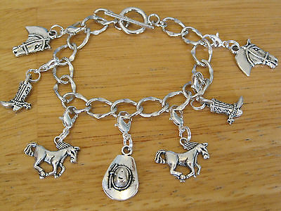 Cowboy/Western/Cowgirl Charm Bracelet Silver-Tone Hat/Boot/Horse Vintage Style