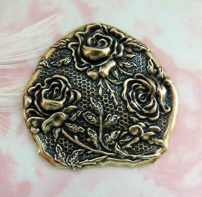 ANTIQUE BRASS Rustic Triple Roses Flower Stamping ~ Jewelry Lady Finding (E-089)