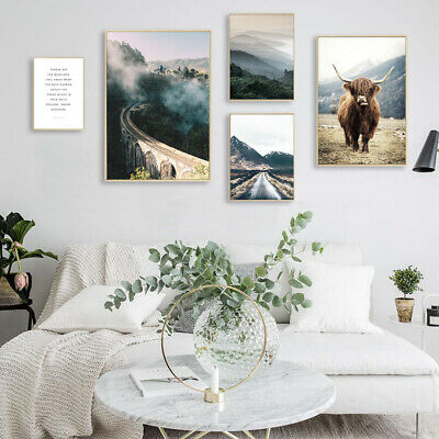Scandinavian Highland Cow Mountain Wall Art Canvas Poster Nordic Landscape Print
