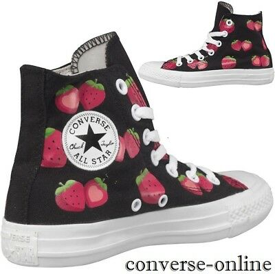 Women's CONVERSE All Star BLACK STRAWBERRIES HIGH TOP Trainers Boots SIZE UK 5.5