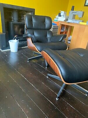 Mid-Century Vintage Style Rosewood Lounger And Footstool In Black Leather