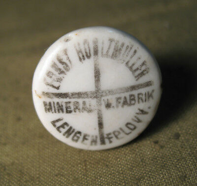 Bottle cap from porcelain Muller from beer or mineral water the First World War.