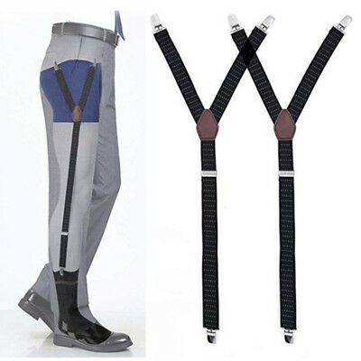 Men Y-Style Shirt Stays Stirrup Adjustable Elastic Garters Strap Non-slip Clamps