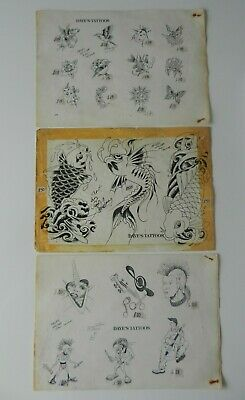vintage shop used tattoo flash sheets louis molloy roy proudlove NOT MACHINE