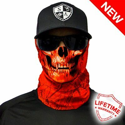 SA COMPANY Face Shield Mask MULTI-USE TUBULAR BANDANA Hi Vis Orange Skull