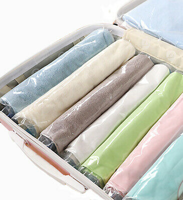 10 Pcs Hand Rolling Compressed Vacuum Bag Home Travel Clothes Storage Space Save