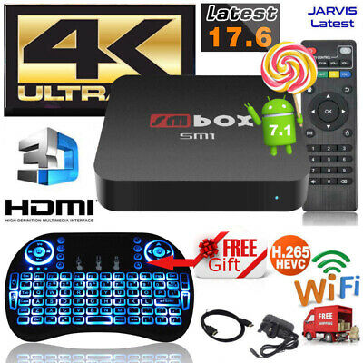 2019 NEW Quad Core Android TV Box 4K 17.6 HDMI HD Media Player+Mini LED Keyboard
