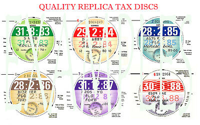 FROM1921-2022 TAX DISCS 2 QUALITY MOT DUE OR REPLICA FOR THE DISCERNING OWNER