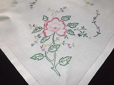 Vintage Irish Linen Embroidered Tablecloth 101 x 103 cms Flowers Floral Topper