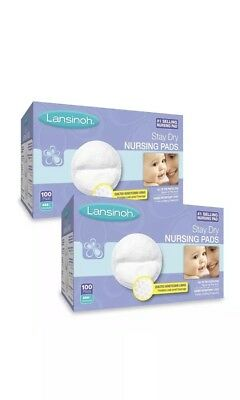 Lansinoh Nursing Pads, 2 Packs of 100 (200 Count) Stay Dry Disposable Breast