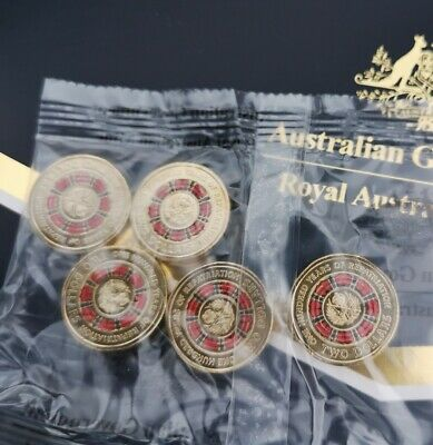 2019 $2 100 years of repatriation  RED COLOURED Coin 5 coin Sachet UNC
