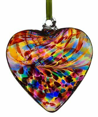 12cm Large Multi Colour Hand Blown Friendship Heart Gift Boxed By Sienna Glass