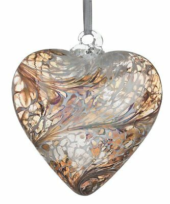 8cm Pastel Gold Hand Blown Friendship Heart Gift Boxed By Sienna Glass