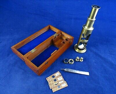 Fabulous Antique Microscope Complete with All Fittings in Lovely Domed Box