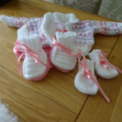 Hand Knitted Baby Girl's Cardigan, Bonnet, Mitts and Bootees 0 - 3 months