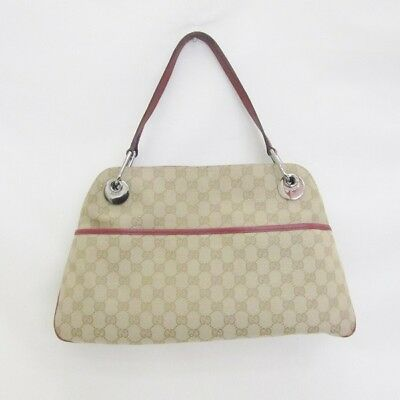 9fb1cc39977 GUCCI 121023 GGpattern canvas leather bag Tote Bag Ladies Free Shipping   used