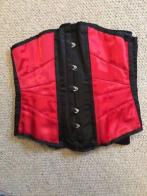 "Sexy red Satin Corset Edged Black underbust UK26"" EUR 40 Rot Schwarz Korsett"