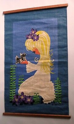 Vintage 60s Mid Century Linen Wall Hanging Blonde Girl Bird Flowers Swedish