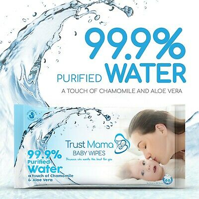 Trust Mama Natural Wipes 99.9% Purified Water Chemical Free For Sensitive Skin