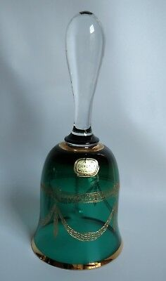 "Beautiful Vintage Bohemia Green Czech Art Glass Bell Gilt Drape Pattern 7"" Label"