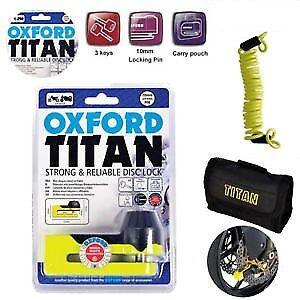 Oxford Titan Motorcycle Strong Disc Lock OF51 Yellow Including Reminder Cable