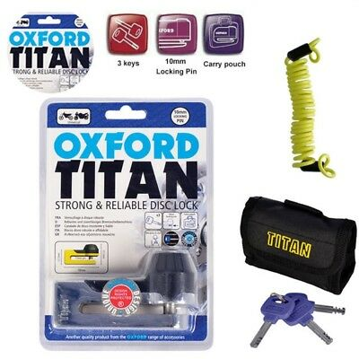 Oxford Titan Motorcycle Strong Disc Lock OF50 Chrome Including Reminder Cable