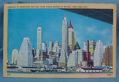 Downtown Skyline From Brooklyn Bridgey New York Ny Linen Vintage Postcard 3S