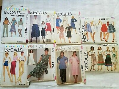 Lot of 8 Vintage McCalls woman Sewing Patterns 1980s Uncut size 14 Medium