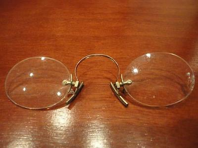 Steel Eyeglasses Nose Pinch Spectacles Oval Lens Self clamping No arms Vintage