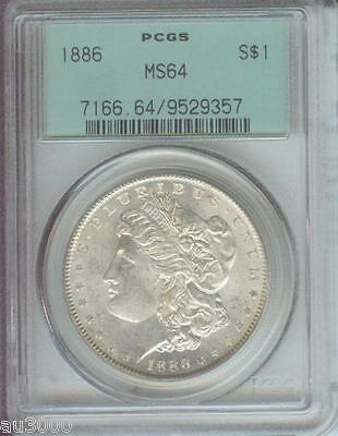 1886 1886-P Morgan Silver Dollar S$1 Pcgs Ms64 Nice Ms-64 Old Green Holder Ogh